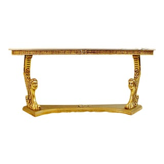 Mid Century Italian Hollywood Regency Gilded Wood Carrera Marble Top Console Table For Sale
