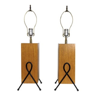 1950's Mid-Century Modern Iron & Wood Table Lamps - a Pair