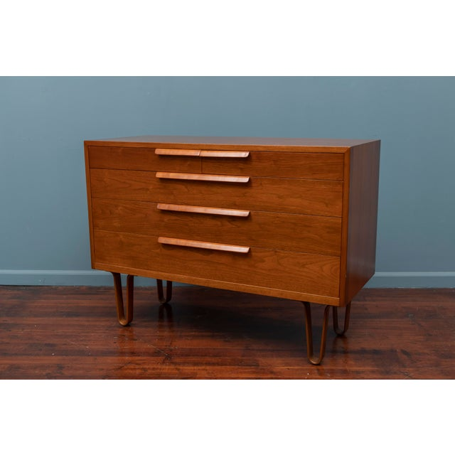 Edward Wormley design walnut chest of drawers for Dunbar Furniture Company, Berne Indiana. Rare form five drawer low chest...