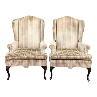 French Provincial Wingback Arm Chairs - a Pair For Sale