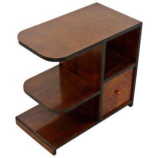 Art Deco 3 Tiered Side End Table / Nightstand With Shelves For Sale