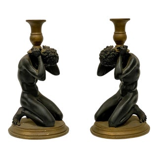 Pair of Toscano Greco Roman Neo-Classical Candle Holders For Sale