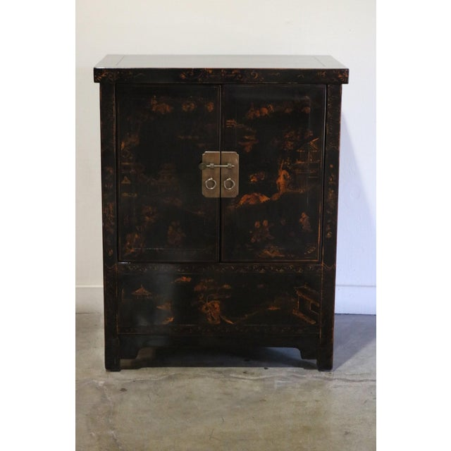 Late 20th Century Black Lacquer and Gilt Painted Cabinet For Sale - Image 11 of 11