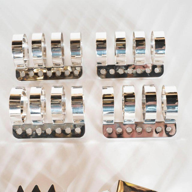 Modernist Memphis Silverplate Napkin Rings by Nathalie Du Pasquier for Bodum - 11 Pc. For Sale - Image 9 of 11