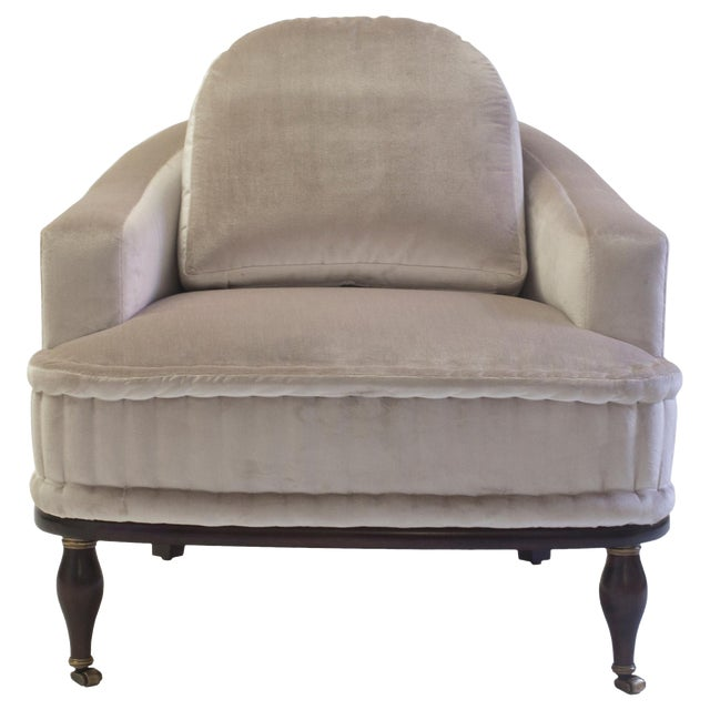 Club Chair With Loose Back Cushion and Hand Rolled Seat and Wood Turned Legs For Sale