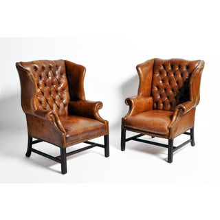 1910s Vintage English Leather Wingback Armchairs - a Pair Preview