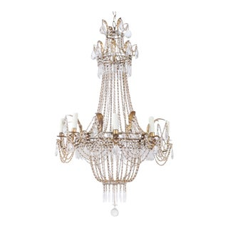 1920s Italian Empire-Style Crystal Beaded Chandelier For Sale