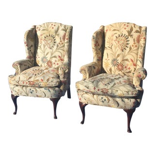 Late 20th Century Vintage Henredon Wingback Chairs - a Pair For Sale