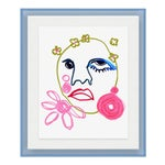Gabrielle by Annie Naranian in Light Blue Acrylic Shadowbox, Small Art Print