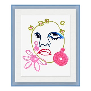 Gabrielle by Annie Naranian in Light Blue Acrylic Shadowbox, Small Art Print For Sale