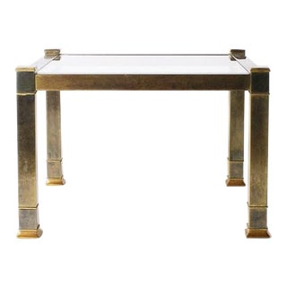 Brass Mastercraft Side Table With Glass Top, C. 1960 For Sale