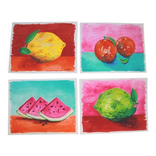 Still Life Fruit Lemon Lime Watermelon Paintings by Cleo S/4 For Sale
