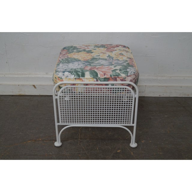 Vintage Woodard White Painted Patio Glider Lounge Chair & Ottoman For Sale - Image 5 of 10