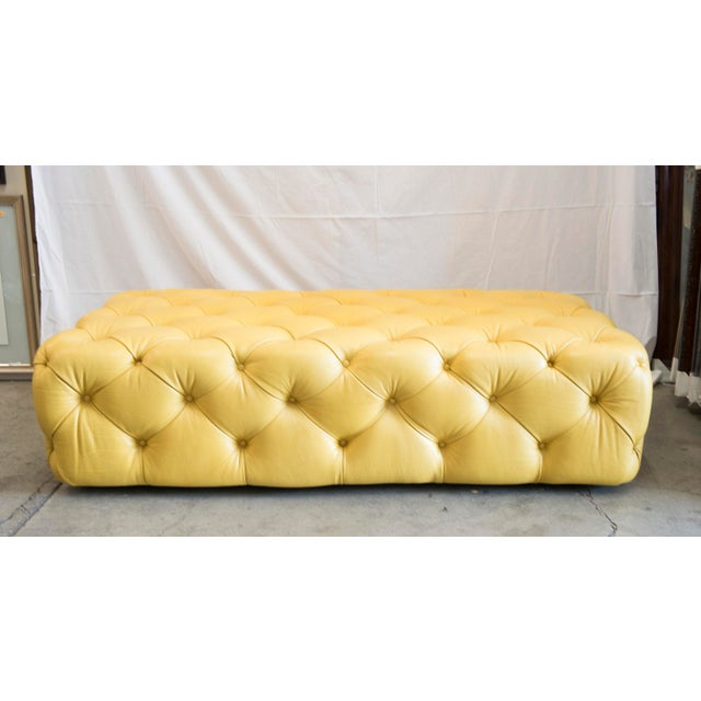 Barclay Butera Home Yellow Keaton Ottoman - Image 4 of 4