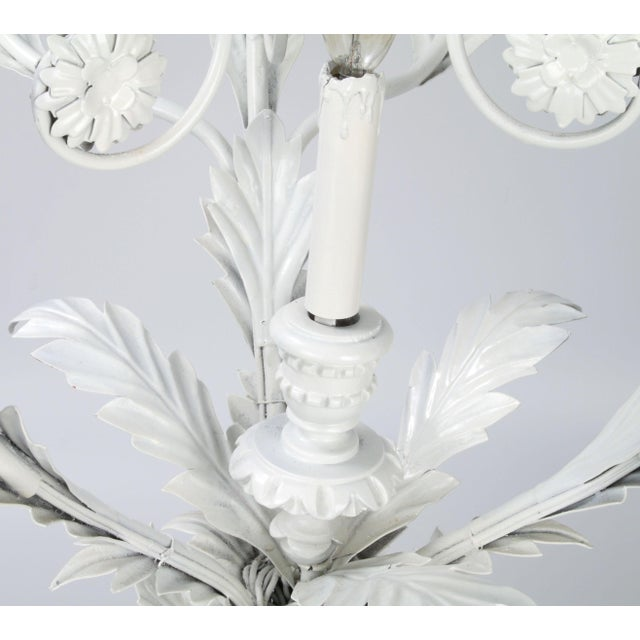 Italian Metal Flower Leaf Chandelier For Sale In Miami - Image 6 of 10