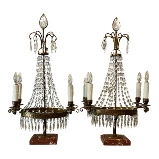 Pair of Antique Baccarat French Crystal & Bronze Girandole Table Chandeliers For Sale