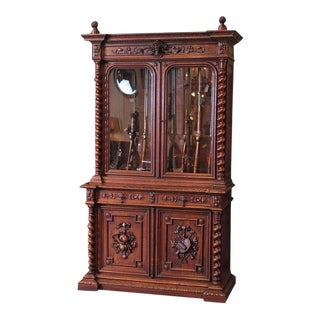 19th Century French Napoleon III Carved Gun Cabinet