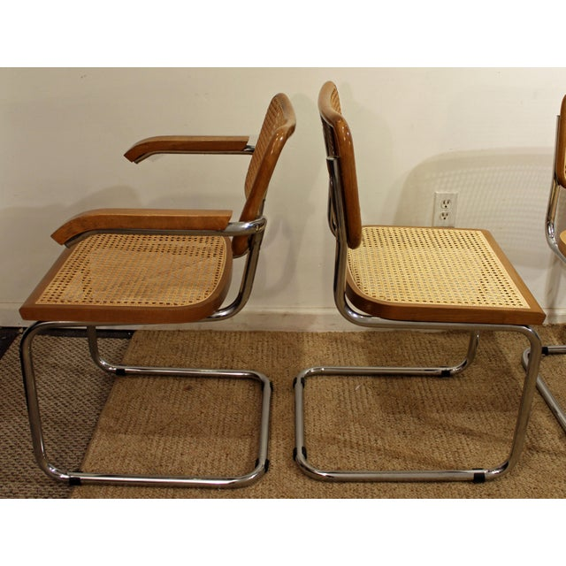 Mid-Century Danish Modern Marcel Breuer Style Caned Dining Chairs - Set of 6 - Image 2 of 10