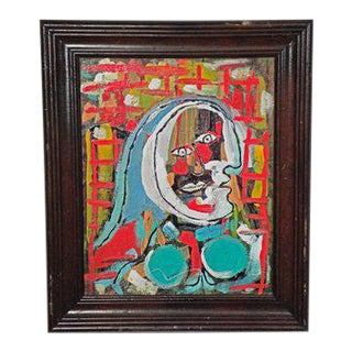 1970s Vintage R. Monti Signed Abstract Oil Painting For Sale