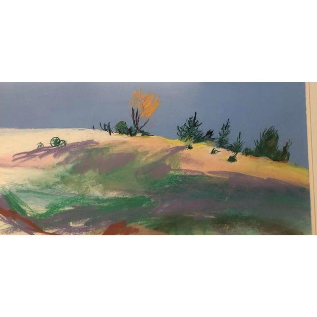 Large Original Vintage Pastel Landscape Drawing Signed For Sale - Image 4 of 6