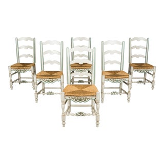 Late 20th Century Country French Dining Chairs- Set of 6 For Sale