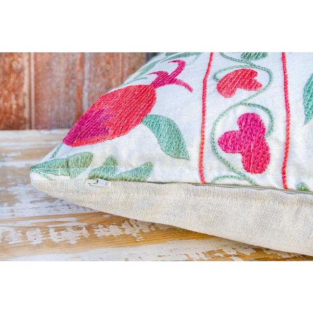 Textile Pomegranate & Green Ivy Uzbek Suzani Pillow For Sale - Image 7 of 10