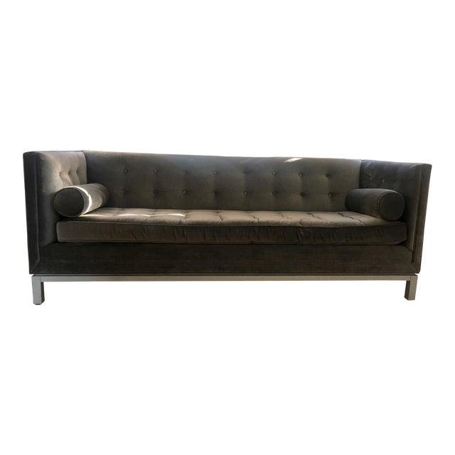 Mid Century Modern Jonanthan Adler Lambert Grey Velvet Sofa Chairish