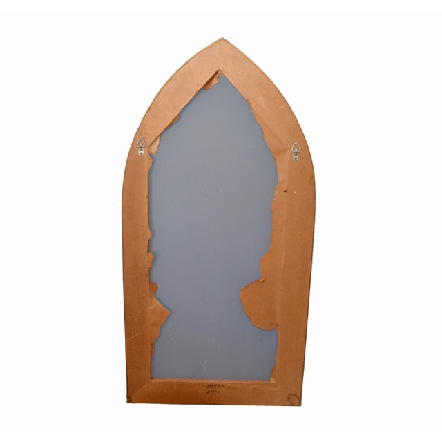 Italian Gothic Arch Brass Wall Mirror Hollywood Regency For Sale - Image 9 of 13