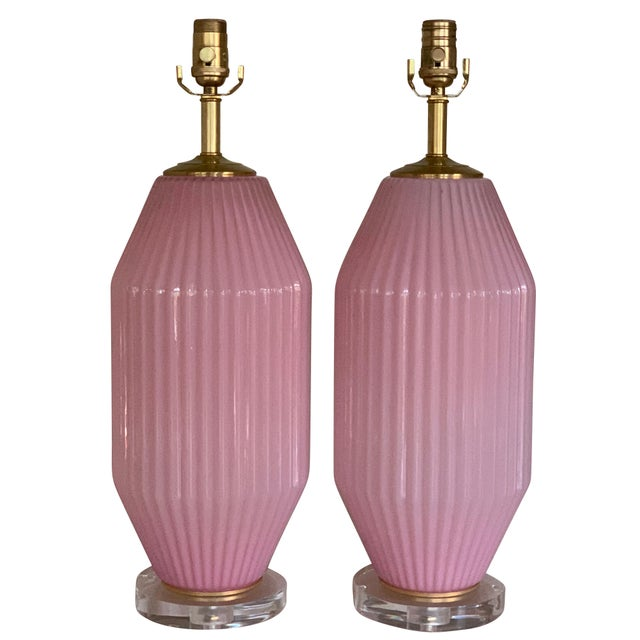 Vintage Pink Murano Art Deco Glass Table Lamp Pair For Sale - Image 9 of 11