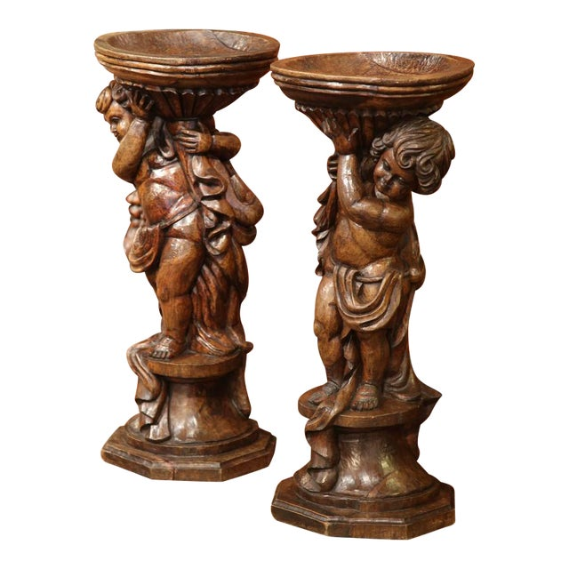 18th Century French Hand-Carved Walnut Jardinieres With Cherubs - A Pair For Sale