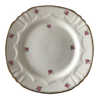 Vintage Small Ceramic Plate With Roses and Gold Trim For Sale