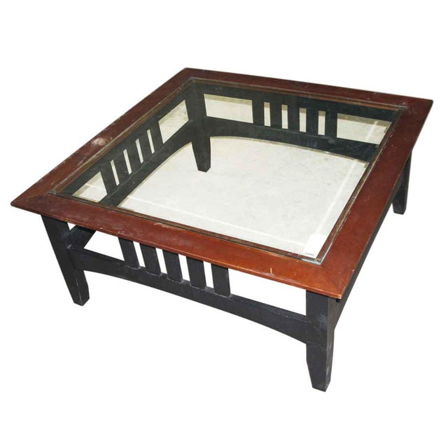 Arts & Crafts Vintage Square Glass Top Coffee Table For Sale - Image 3 of 6