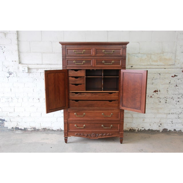 French Baker Furniture French Regency Style Cherry Wood Armoire Dresser Chest For Sale - Image 3 of 11
