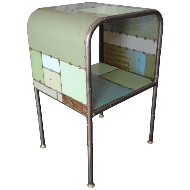 Locally-Sourced Reclaimed Steel Bedside Table - Image 1 of 10