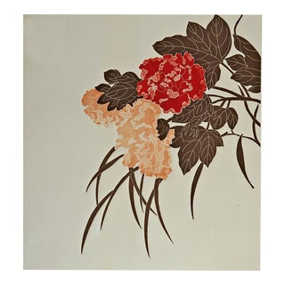 Floral Embossed Serigraph For Sale