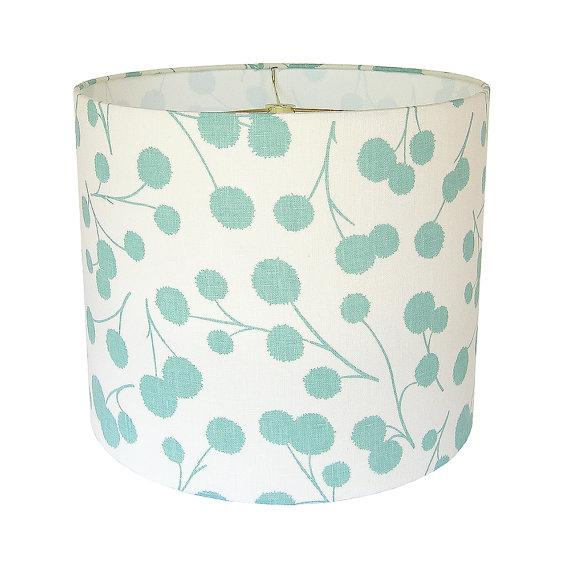 New, Made to Order, Large Drum Shade, Kravet's Burnet Fabric in Ocean - Image 1 of 3