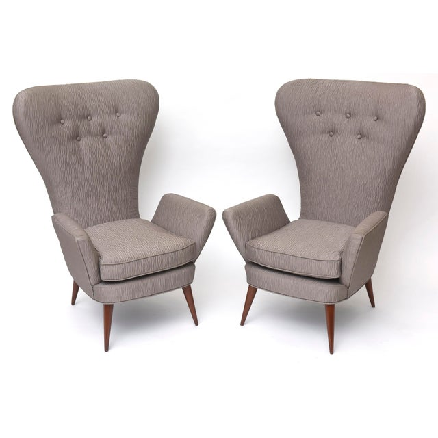 Gray Pair of Italian Modern High Back Chairs, Italy For Sale - Image 8 of 11