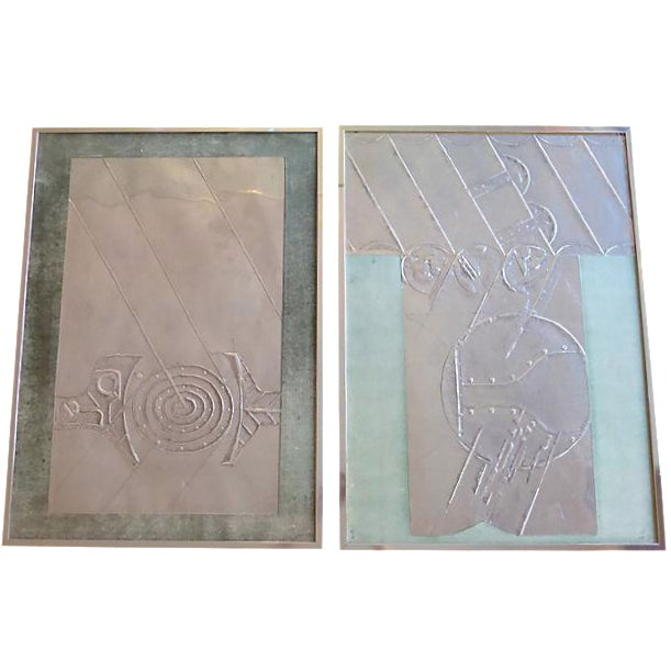 Mid-Century Abstract Foil Art - A Pair - Image 1 of 6