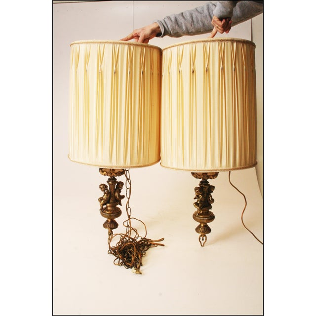 Vintage Hollywood Regency Brass Cherub Pendant Lamps - A Pair - Image 11 of 11
