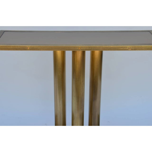 """Modern Contemporary """"Calandre"""" Narrow Brass Mirrored Console For Sale - Image 3 of 9"""