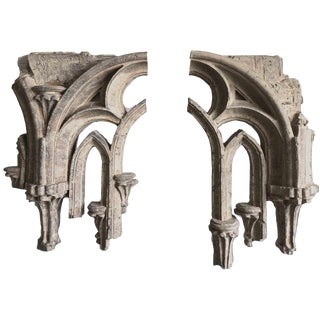 Gothic Cathedral Window Tracery Masonry Fragments - a Pair For Sale
