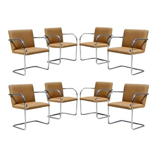 Chrome and Camel Colored Mies van der Rohe Tubular Brno Chairs by Knoll - Set of 8 For Sale