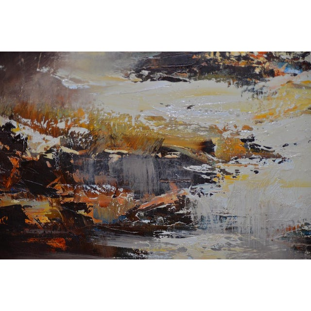 """Orange Don Clausen """"Warm Winter Sky"""" Abstract Landscape Oil Painting C.1963 For Sale - Image 8 of 11"""