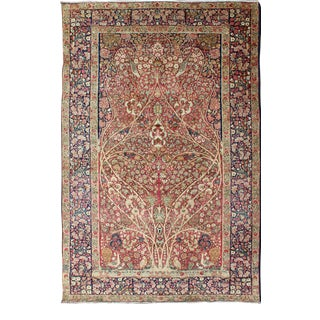 Very Fine Antique Persian Lavar Kerman Rug With Intricate Floral Design For Sale