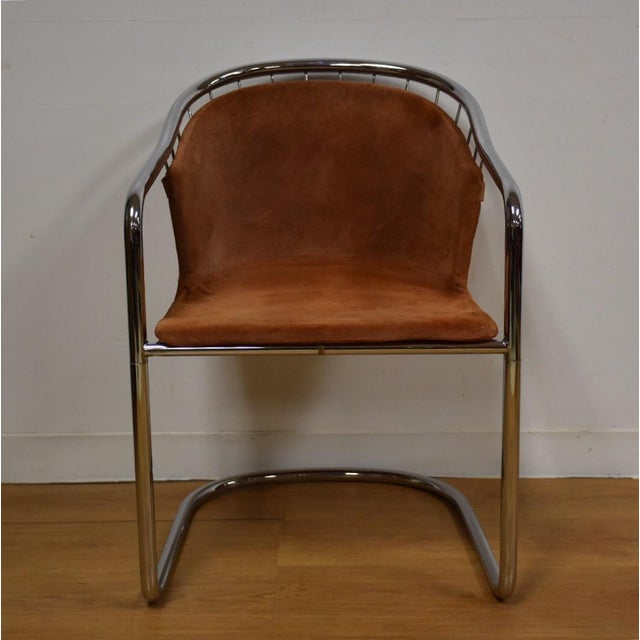 Mid-Century Chrome and Suede Chair - Image 3 of 9