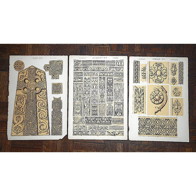 Late 19th Century Set of 3-Authentic Antique Lithographs-Ornamental Designs For Sale - Image 5 of 5