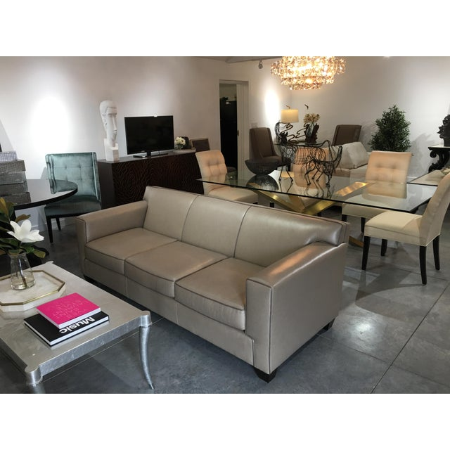 NEST INTERIOR DESIGN SHOWROOM SAMPLE Beautiful custom Italian leather Park Place sofa by LeatherCraft Furniture,...