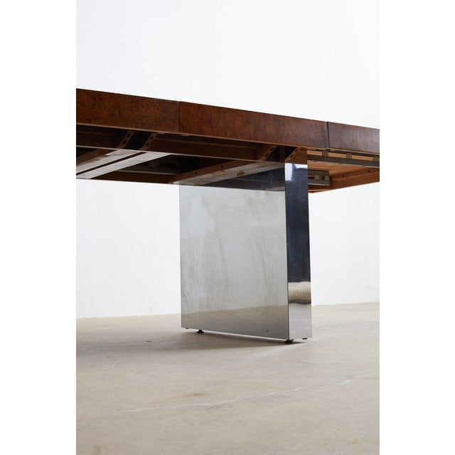 Mid 20th Century Milo Baughman Burl Wood Chrome Extension Dining Table For Sale - Image 5 of 13