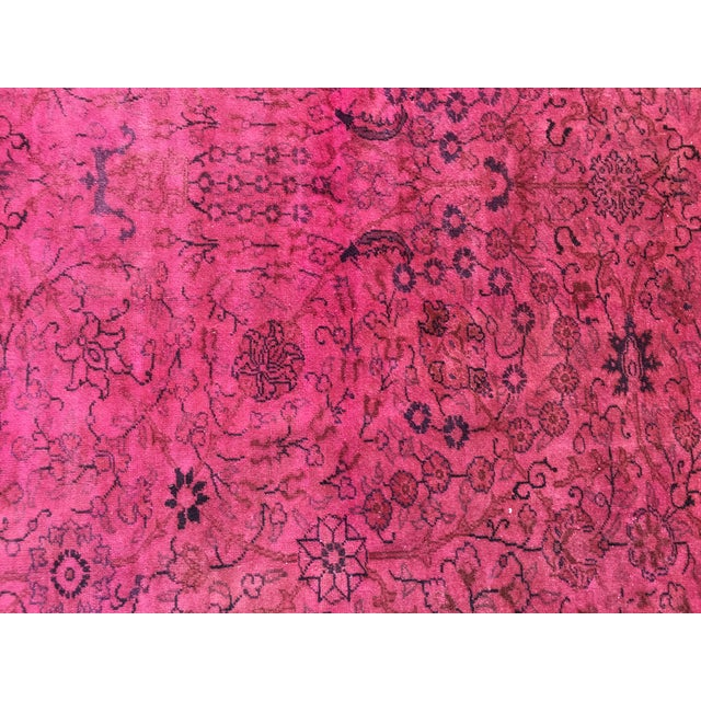 Hot Pink Overdyed Runner Rug - Image 5 of 9
