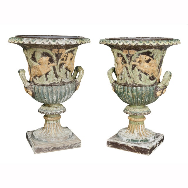 Pair of European Carved and Painted Wood Campagna Form Urns For Sale - Image 13 of 13